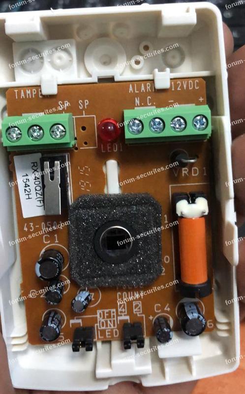 raccordement Galaxy et détecteurs Optex RX-40QZ